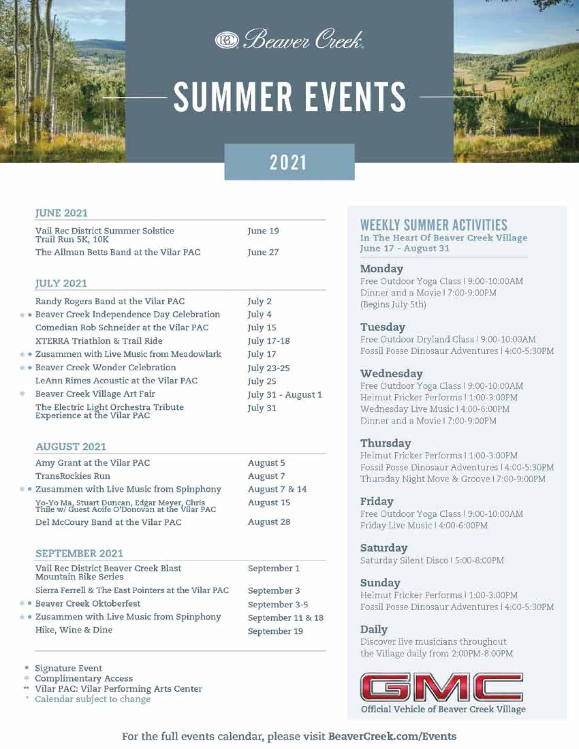 Beaver Creek 2021 Event Calendar